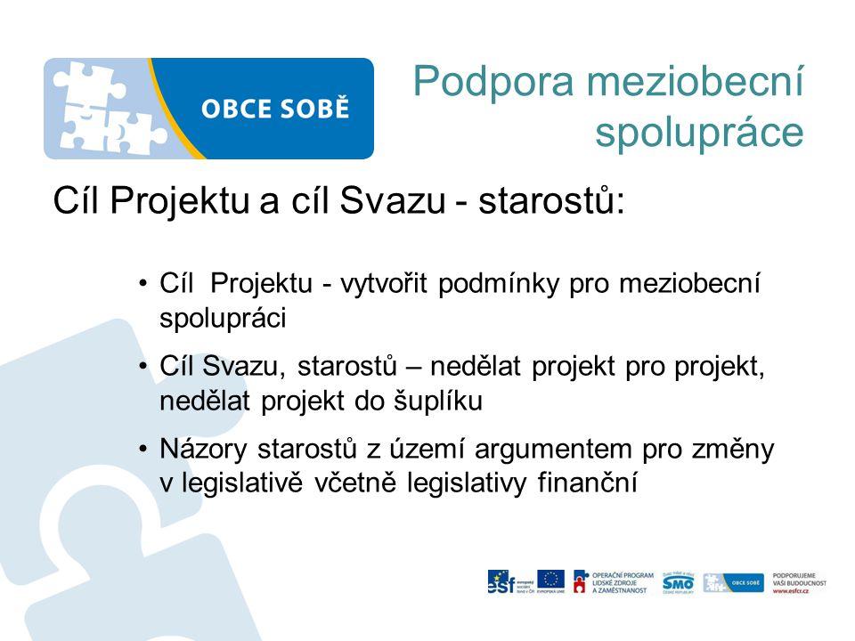 Podpora meziobecní spolupráce Cíl Projektu a cíl Svazu - starostů: •Cíl Projektu - vytvořit podmínky pro meziobecní spolupráci •Cíl Svazu, starostů –