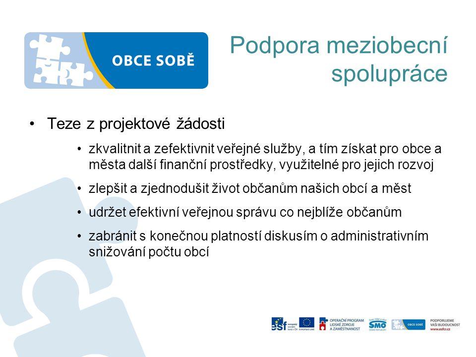 Podpora meziobecní spolupráce •Teze z projektové žádosti •zkvalitnit a zefektivnit veřejné služby, a tím získat pro obce a města další finanční prostř