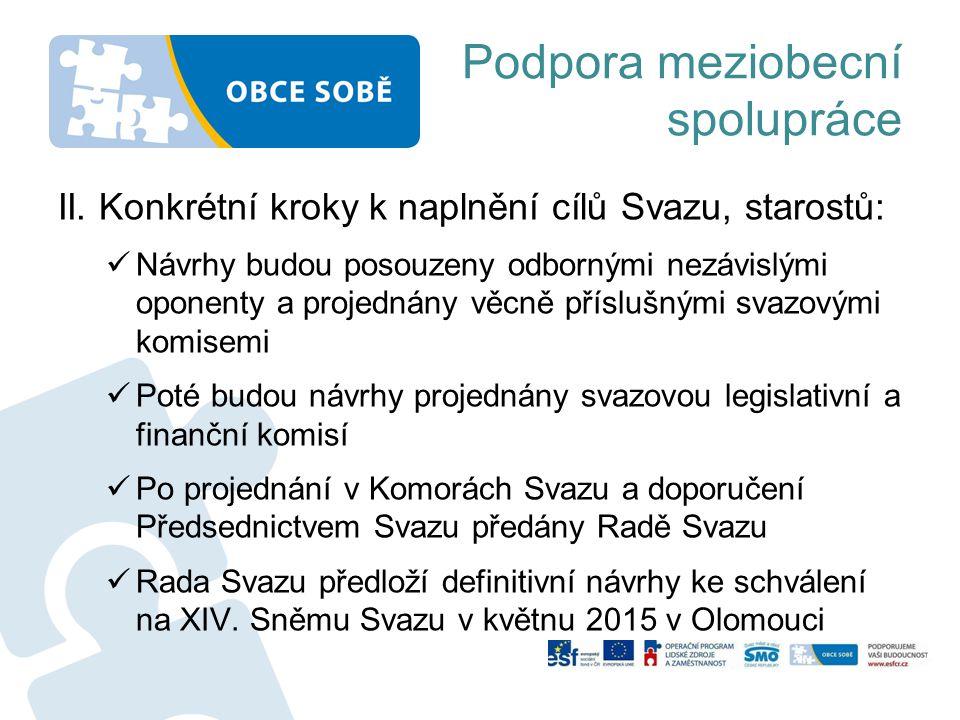 Podpora meziobecní spolupráce II. Konkrétní kroky k naplnění cílů Svazu, starostů:  Návrhy budou posouzeny odbornými nezávislými oponenty a projednán