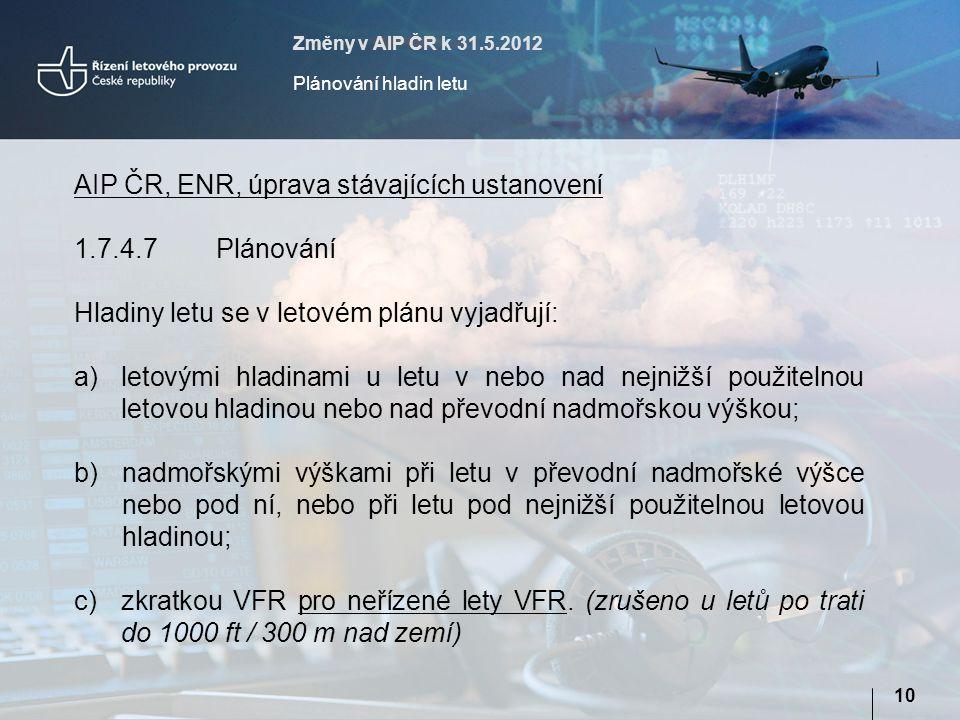 Změny v AIP ČR k 31.5.2012 Plánování hladin letu 10 AIP ČR, ENR, úprava stávajících ustanovení 1.7.4.7Plánování Hladiny letu se v letovém plánu vyjadřují: a)letovými hladinami u letu v nebo nad nejnižší použitelnou letovou hladinou nebo nad převodní nadmořskou výškou; b)nadmořskými výškami při letu v převodní nadmořské výšce nebo pod ní, nebo při letu pod nejnižší použitelnou letovou hladinou; c)zkratkou VFR pro neřízené lety VFR.
