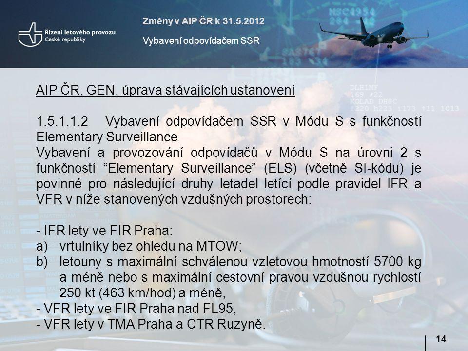 Změny v AIP ČR k 31.5.2012 Vybavení odpovídačem SSR 14 AIP ČR, GEN, úprava stávajících ustanovení 1.5.1.1.2Vybavení odpovídačem SSR v Módu S s funkčností Elementary Surveillance Vybavení a provozování odpovídačů v Módu S na úrovni 2 s funkčností Elementary Surveillance (ELS) (včetně SI-kódu) je povinné pro následující druhy letadel letící podle pravidel IFR a VFR v níže stanovených vzdušných prostorech: - IFR lety ve FIR Praha: a)vrtulníky bez ohledu na MTOW; b)letouny s maximální schválenou vzletovou hmotností 5700 kg a méně nebo s maximální cestovní pravou vzdušnou rychlostí 250 kt (463 km/hod) a méně, - VFR lety ve FIR Praha nad FL95, - VFR lety v TMA Praha a CTR Ruzyně.