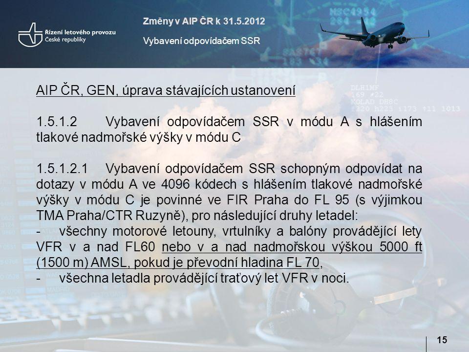 Změny v AIP ČR k 31.5.2012 Vybavení odpovídačem SSR 15 AIP ČR, GEN, úprava stávajících ustanovení 1.5.1.2Vybavení odpovídačem SSR v módu A s hlášením tlakové nadmořské výšky v módu C 1.5.1.2.1Vybavení odpovídačem SSR schopným odpovídat na dotazy v módu A ve 4096 kódech s hlášením tlakové nadmořské výšky v módu C je povinné ve FIR Praha do FL 95 (s výjimkou TMA Praha/CTR Ruzyně), pro následující druhy letadel: -všechny motorové letouny, vrtulníky a balóny provádějící lety VFR v a nad FL60 nebo v a nad nadmořskou výškou 5000 ft (1500 m) AMSL, pokud je převodní hladina FL 70, -všechna letadla provádějící traťový let VFR v noci.