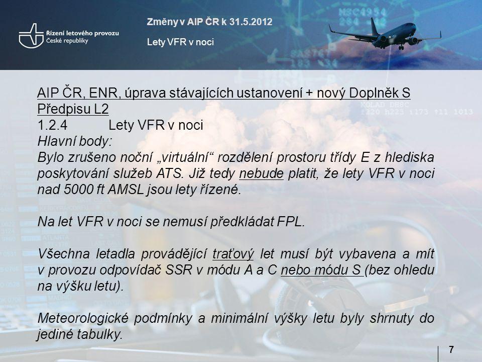 Změny v AIP ČR k 31.5.2012 Lety VFR v noci 7 AIP ČR, ENR, úprava stávajících ustanovení + nový Doplněk S Předpisu L2 1.2.4Lety VFR v noci Hlavní body: