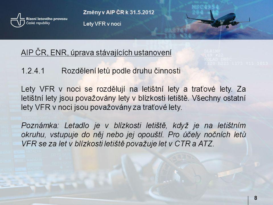 Změny v AIP ČR k 31.5.2012 Lety VFR v noci 9 AIP ČR, ENR, úprava stávajících ustanovení 1.2.4.2 Noční lety VFR musí být prováděny podle následujících všeobecných podmínek: a) je-li to proveditelné, musí být u letadel, pro něž byl podán FPL, udržováno obousměrné radiové spojení na příslušném kmitočtu ATS; b)všechna letadla provádějící traťový let musí být vybavena a mít v provozu odpovídač SSR v módu A a C nebo módu S; c) musí být dodržena minima uvedená v Tabulce 2.