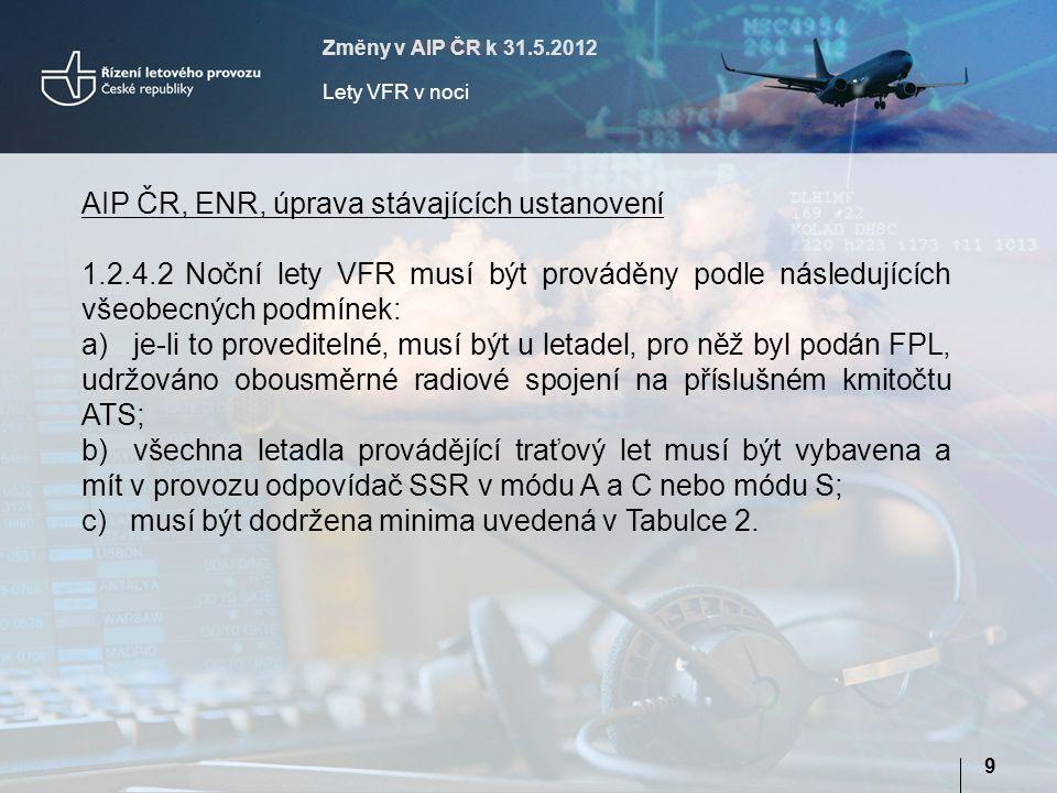 Změny v AIP ČR k 31.5.2012 Lety VFR v noci 9 AIP ČR, ENR, úprava stávajících ustanovení 1.2.4.2 Noční lety VFR musí být prováděny podle následujících