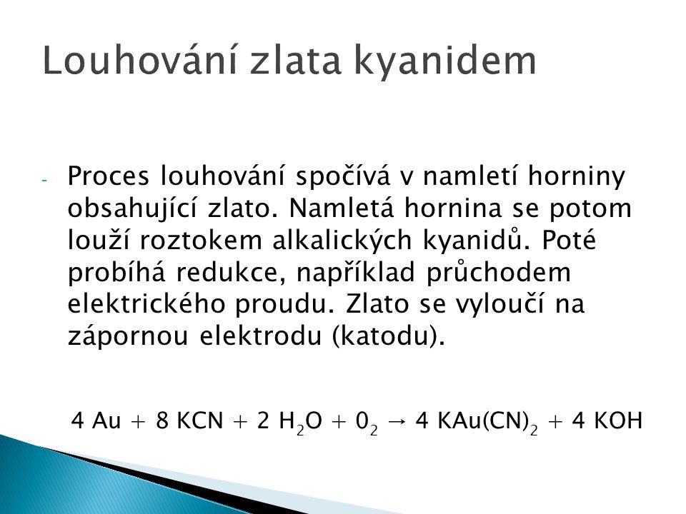 - Použití kyanidu představuje velice rizikový proces, příkladem může být katastrofální zamoření Dunaje kyanidy a těžkými kovy, při havárii v rumunském Baia Mare.