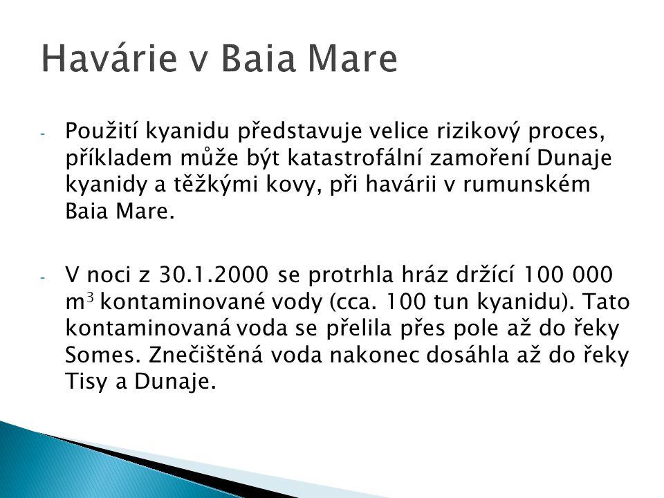 - Mapka ukazující polohu Baia Mare, řeku Someş která byla znečištěna jako první, následně řeka Tisa, která proudí až do Dunaje.