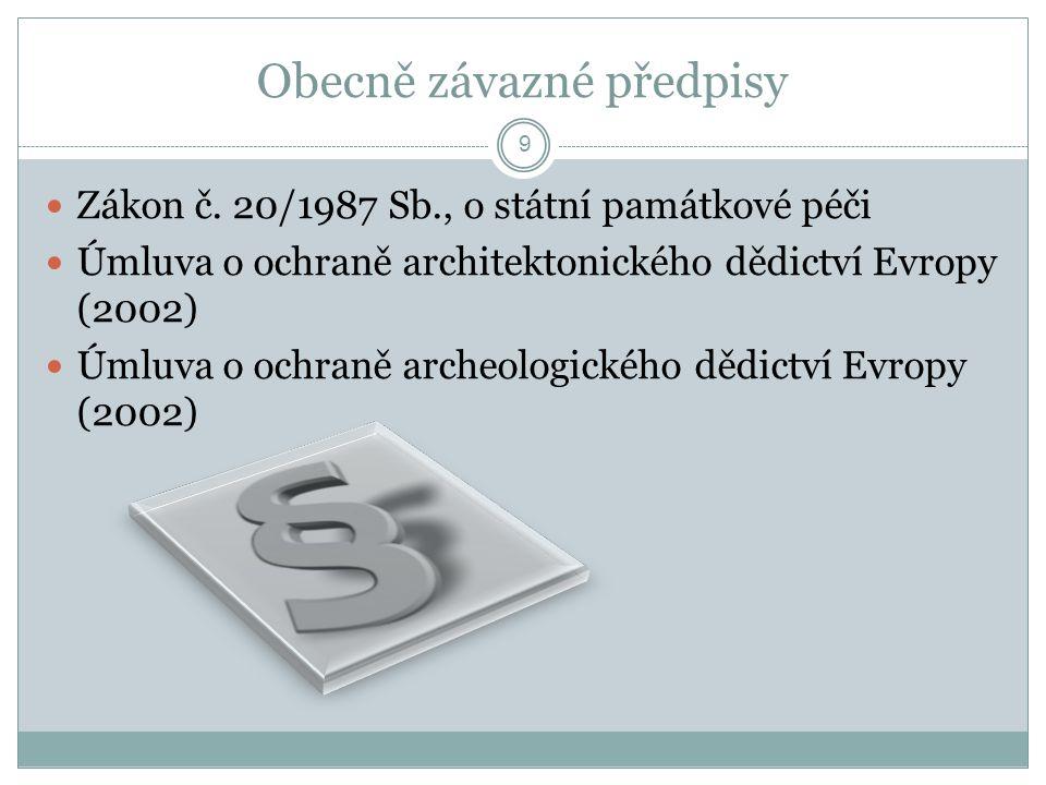 Obecně závazné předpisy  Zákon č. 20/1987 Sb., o státní památkové péči  Úmluva o ochraně architektonického dědictví Evropy (2002)  Úmluva o ochraně