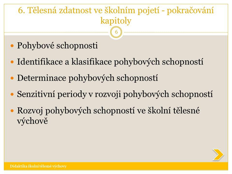 6. Tělesná zdatnost ve školním pojetí - pokračování kapitoly Didaktika školní tělesné výchovy 6  Pohybové schopnosti  Identifikace a klasifikace poh