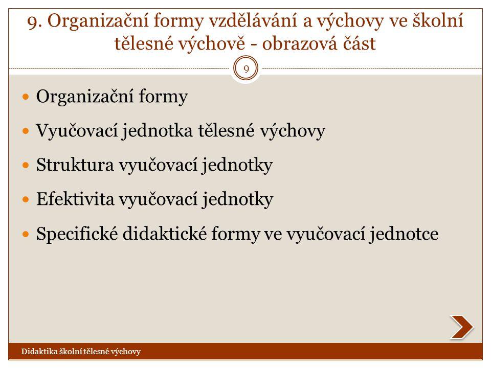9. Organizační formy vzdělávání a výchovy ve školní tělesné výchově - obrazová část  Organizační formy  Vyučovací jednotka tělesné výchovy  Struktu