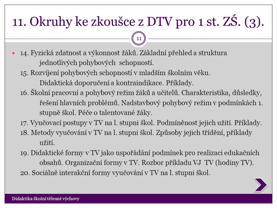 11. Okruhy ke zkoušce z DTV pro 1 st. ZŚ. (3). Didaktika školní tělesné výchovy 11  14. Fyzická zdatnost a výkonnost žáků. Základní přehled a struktu
