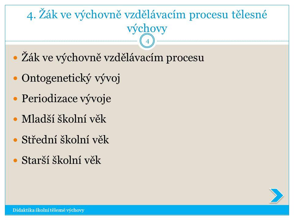 4. Žák ve výchovně vzdělávacím procesu tělesné výchovy Didaktika školní tělesné výchovy 4  Žák ve výchovně vzdělávacím procesu  Ontogenetický vývoj