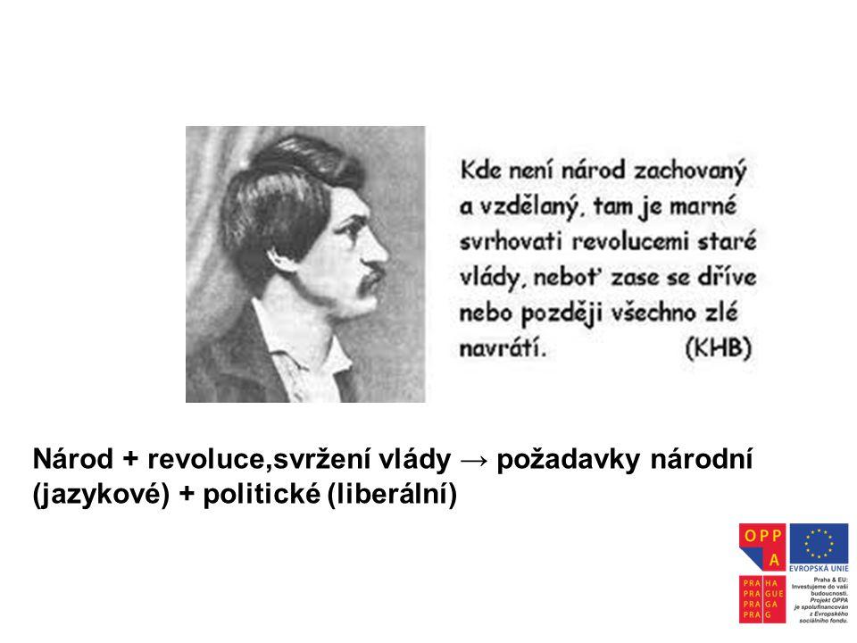 Národ + revoluce,svržení vlády → požadavky národní (jazykové) + politické (liberální)