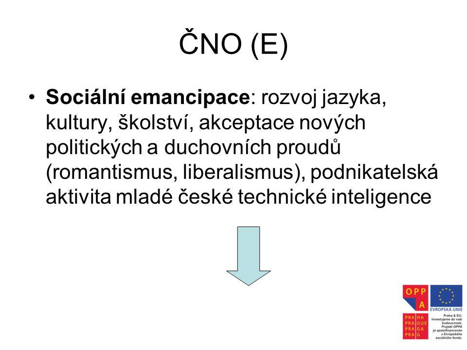 ČNO (E) •Sociální emancipace: rozvoj jazyka, kultury, školství, akceptace nových politických a duchovních proudů (romantismus, liberalismus), podnikat