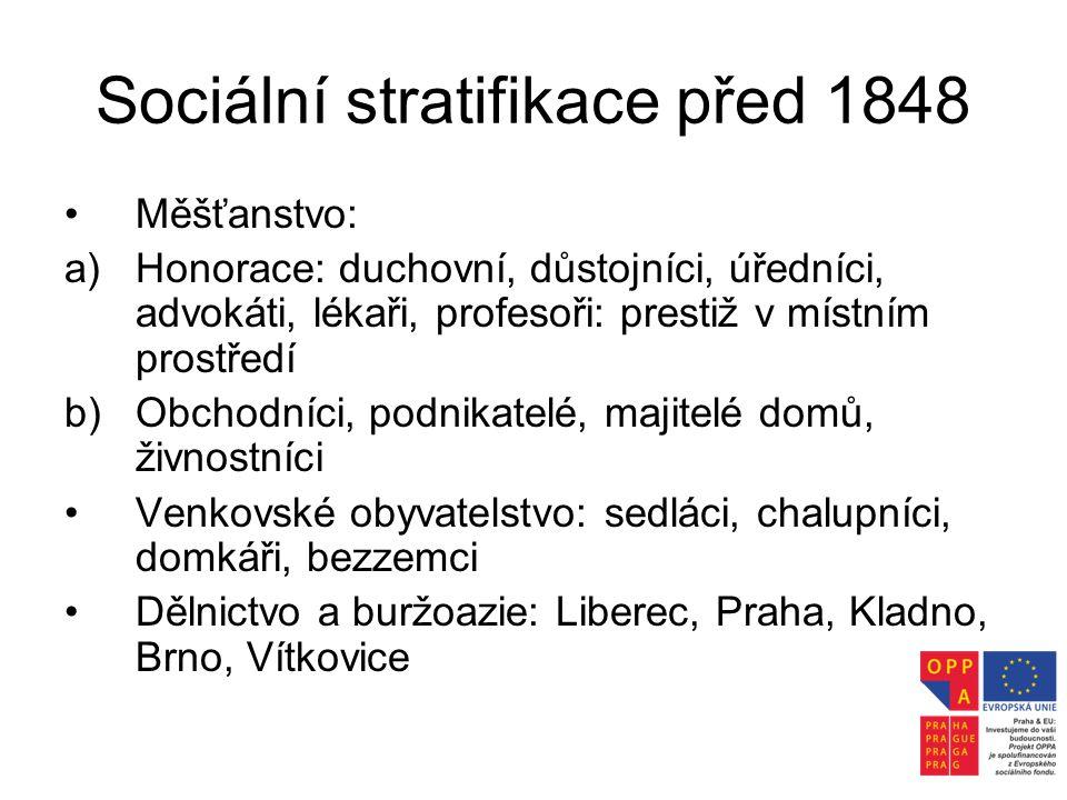 Sociální stratifikace před 1848 •Měšťanstvo: a)Honorace: duchovní, důstojníci, úředníci, advokáti, lékaři, profesoři: prestiž v místním prostředí b)Ob