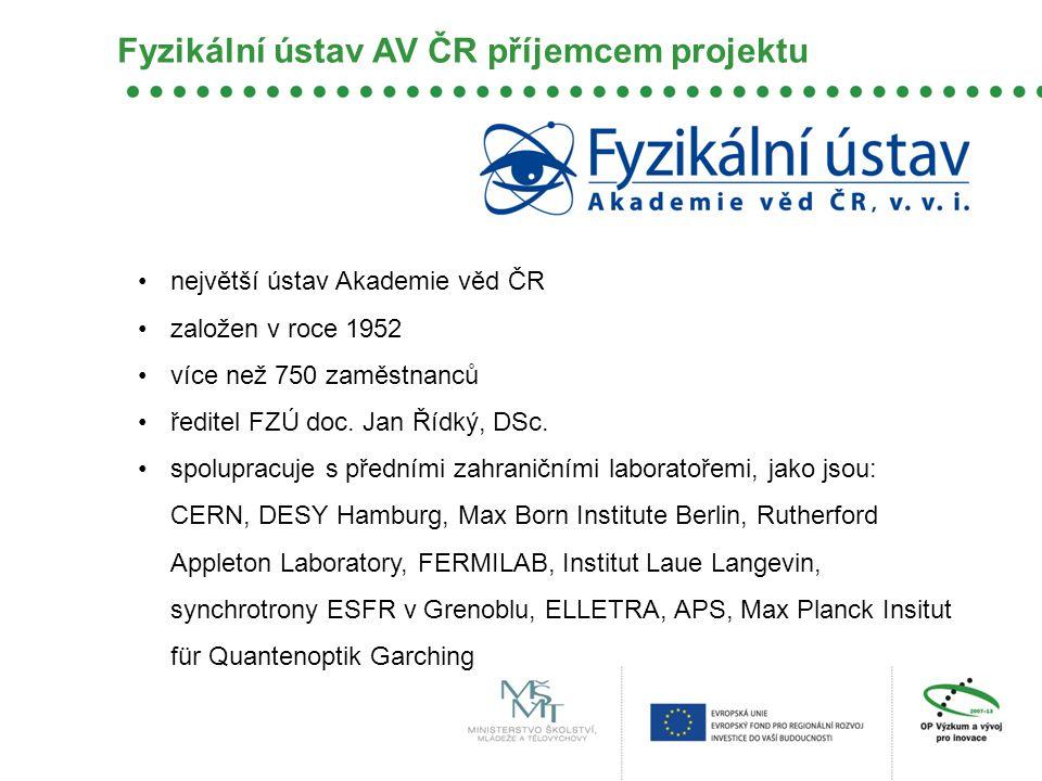 Fyzikální ústav AV ČR příjemcem projektu •největší ústav Akademie věd ČR •založen v roce 1952 •více než 750 zaměstnanců •ředitel FZÚ doc. Jan Řídký, D