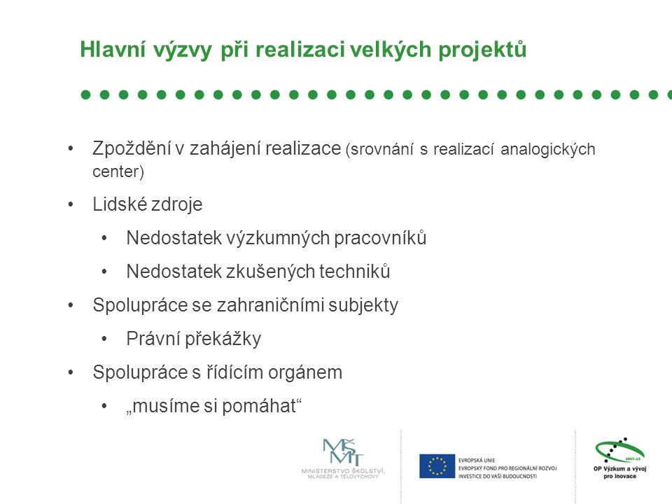 Hlavní výzvy při realizaci velkých projektů •Zpoždění v zahájení realizace (srovnání s realizací analogických center) •Lidské zdroje •Nedostatek výzku