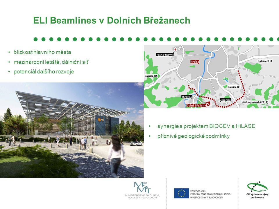 ELI Beamlines v Dolních Břežanech •blízkost hlavního města •mezinárodní letiště, dálniční síť •potenciál dalšího rozvoje •synergie s projektem BIOCEV