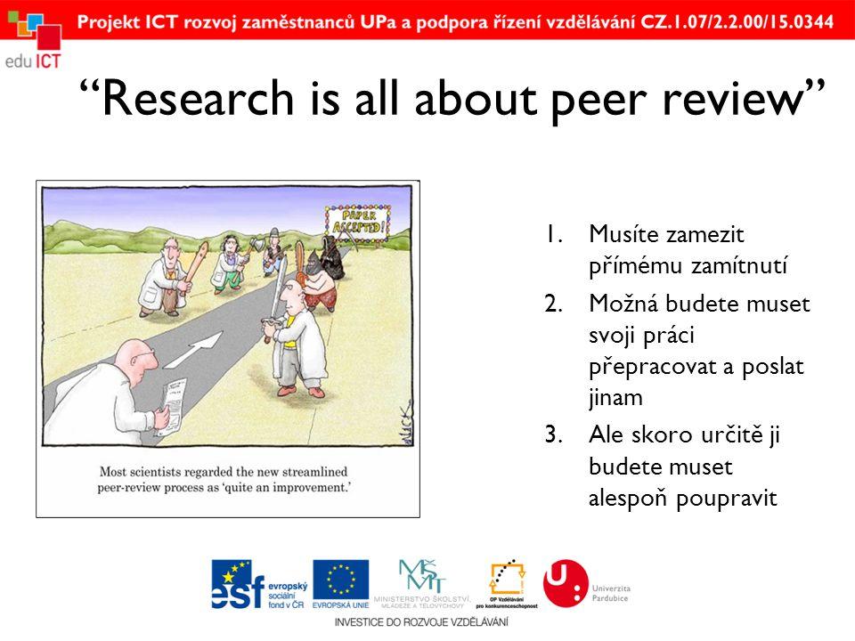 """""""Research is all about peer review"""" 1.Musíte zamezit přímému zamítnutí 2.Možná budete muset svoji práci přepracovat a poslat jinam 3.Ale skoro určitě"""