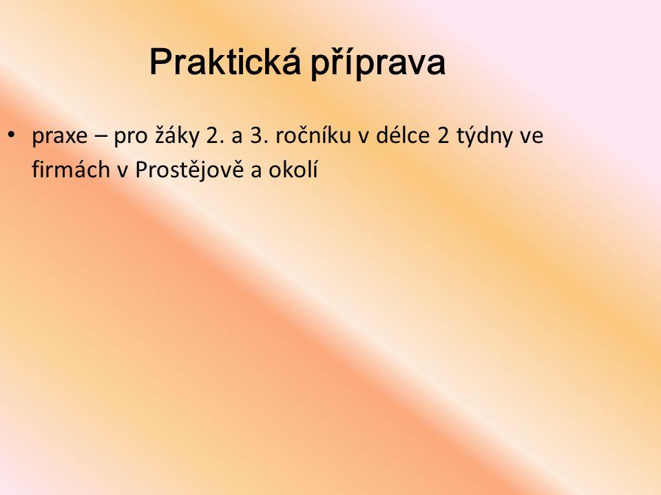 Praktická příprava • praxe – pro žáky 2. a 3. ročníku v délce 2 týdny ve firmách v Prostějově a okolí
