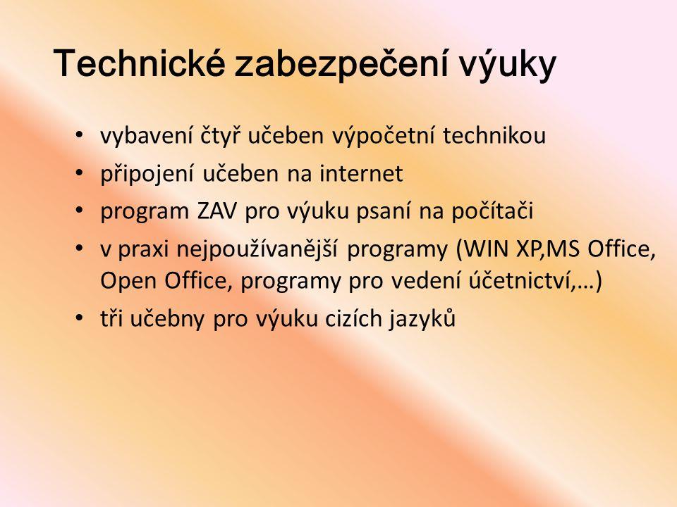 Technické zabezpečení výuky • vybavení čtyř učeben výpočetní technikou • připojení učeben na internet • program ZAV pro výuku psaní na počítači • v pr