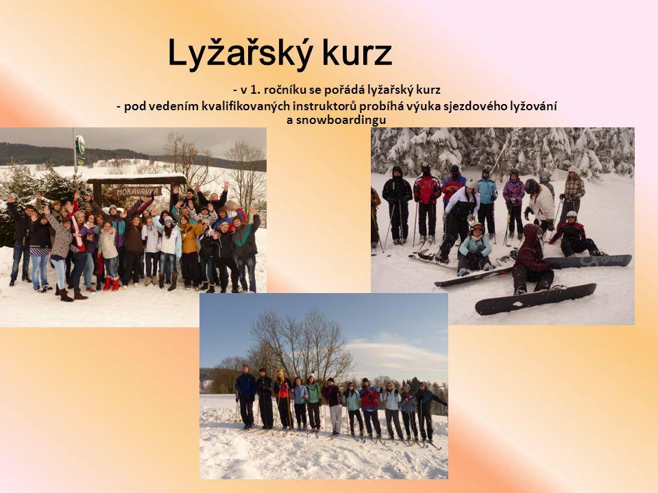 Lyžařský kurz - v 1. ročníku se pořádá lyžařský kurz - pod vedením kvalifikovaných instruktorů probíhá výuka sjezdového lyžování a snowboardingu