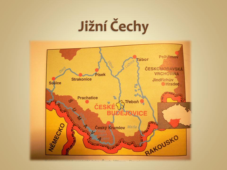 Přírodní poměry: - Šumava (Plechý 1378m.n.m.) - Boubín - Středočeská pahorkatina - Novohradské hory - Jihočeská pánev – zde je nejvíce rybníků v ČR - Vltava a Lužnice - Vodní nádrž LIPNO (na řece Vltavě) - Největším rybníkem je ROŽMBERK
