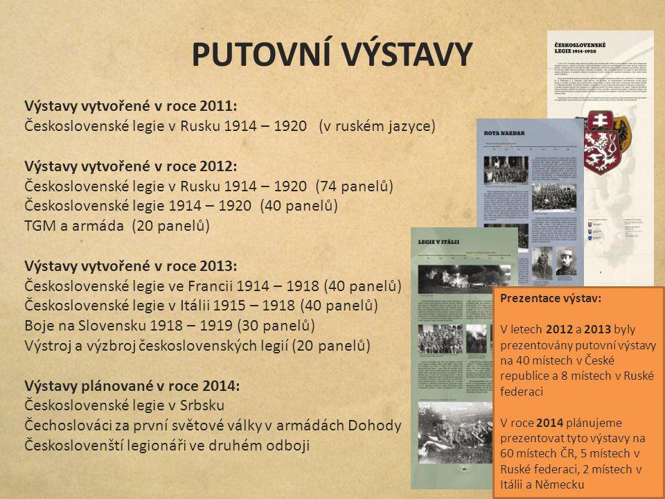 PUTOVNÍ VÝSTAVY Výstavy vytvořené v roce 2011: Československé legie v Rusku 1914 – 1920 (v ruském jazyce) Výstavy vytvořené v roce 2012: Československ