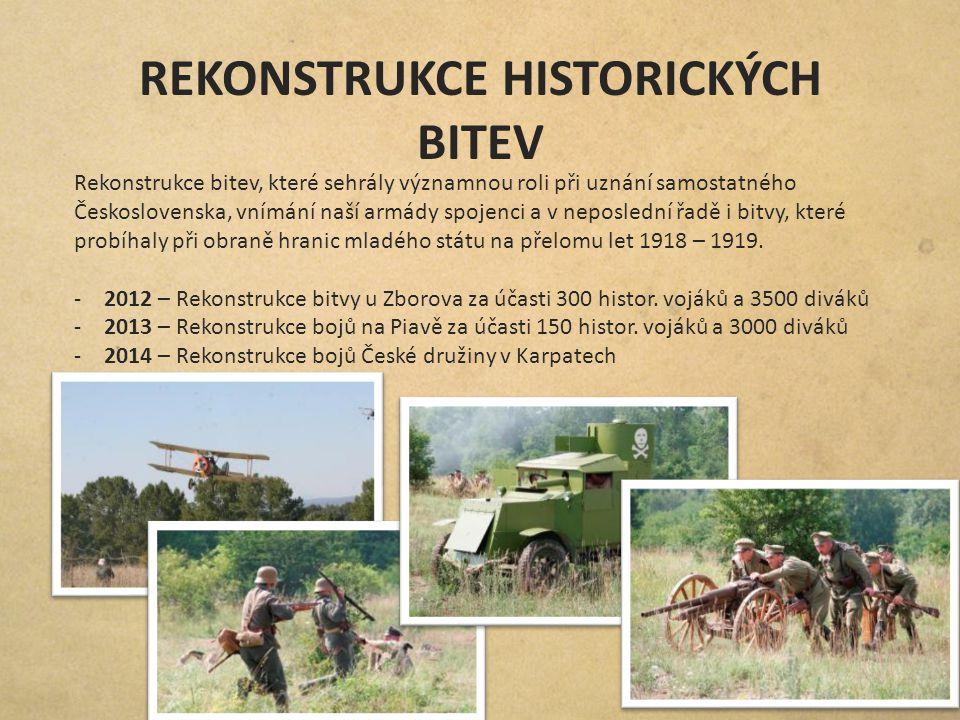 REKONSTRUKCE HISTORICKÝCH BITEV Rekonstrukce bitev, které sehrály významnou roli při uznání samostatného Československa, vnímání naší armády spojenci