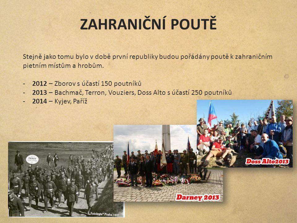 ZAHRANIČNÍ POUTĚ Stejně jako tomu bylo v době první republiky budou pořádány poutě k zahraničním pietním místům a hrobům. -2012 – Zborov s účastí 150
