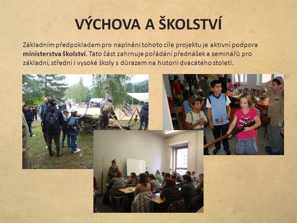 VÝCHOVA A ŠKOLSTVÍ Základním předpokladem pro naplnění tohoto cíle projektu je aktivní podpora ministerstva školství. Tato část zahrnuje pořádání před