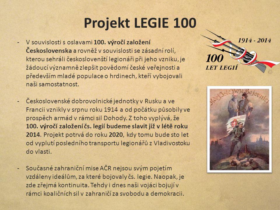 Projekt LEGIE 100 -V souvislosti s oslavami 100. výročí založení Československa a rovněž v souvislosti se zásadní rolí, kterou sehráli českoslovenští