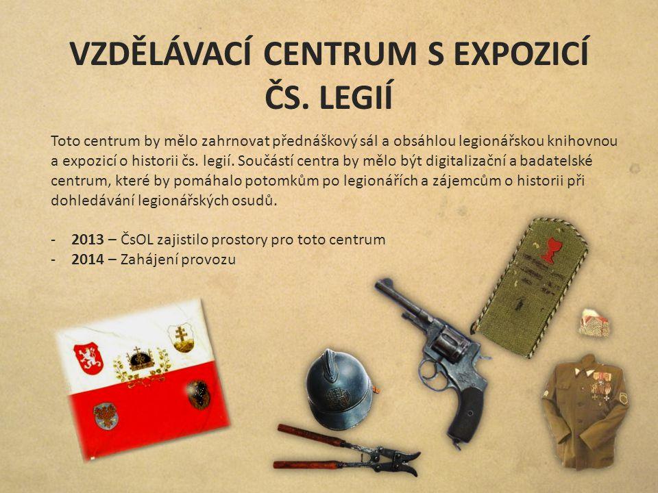 VZDĚLÁVACÍ CENTRUM S EXPOZICÍ ČS. LEGIÍ Toto centrum by mělo zahrnovat přednáškový sál a obsáhlou legionářskou knihovnou a expozicí o historii čs. leg