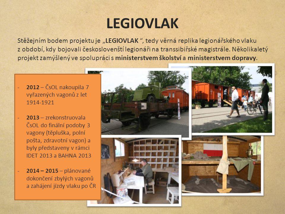 """LEGIOVLAK Stěžejním bodem projektu je """"LEGIOVLAK """", tedy věrná replika legionářského vlaku z období, kdy bojovali českoslovenští legionáři na transsib"""