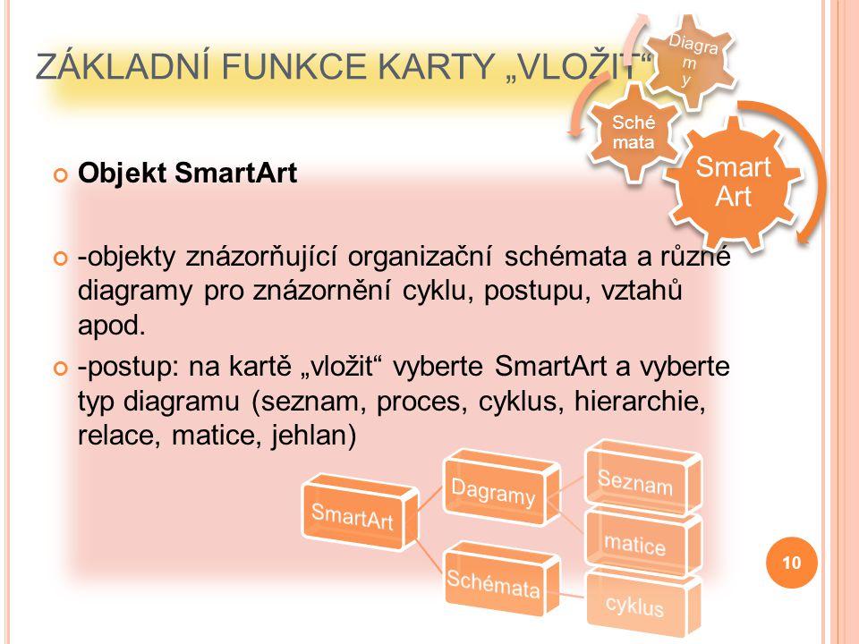 """ZÁKLADNÍ FUNKCE KARTY """"VLOŽIT Stejně jako ve straších verzích můžeme vkládat např.: obrázek, klipart, fotoalbum, graf, datum a čas, číslo snímku, tabulky, zvuky, videoklipy a další Verze PowerPointu 2007 nám navíc umožňuje vkládat objekty jako obrázky SmartArt (diagramy a organizační schémata) a WordArt (speciálně upravený text) v návrhářské kvalitě."""