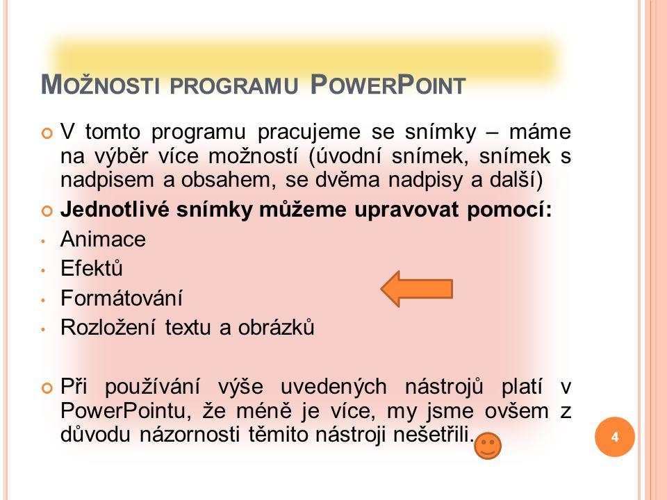 C O JE P OWER P OINT PowerPoint 2007 je vynikajícím prezentačním nástrojem, se kterým lze vytvářet profesionálně vyvedené prezentace k nejrůznějším účelům.