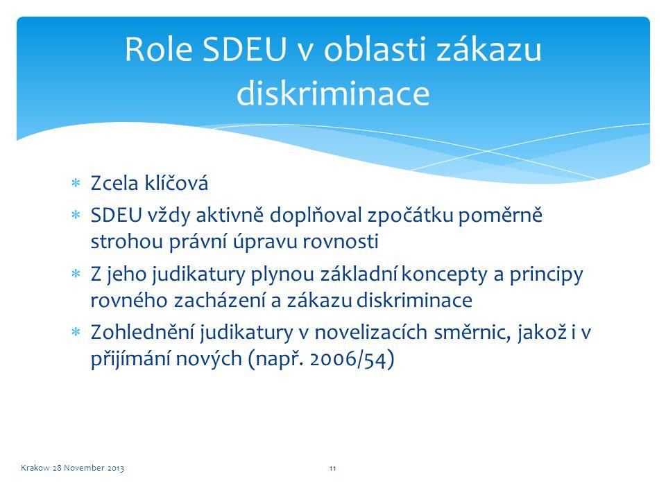 Role SDEU v oblasti zákazu diskriminace  Zcela klíčová  SDEU vždy aktivně doplňoval zpočátku poměrně strohou právní úpravu rovnosti  Z jeho judikat