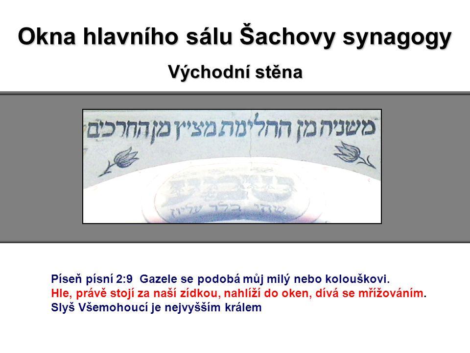 Okna hlavního sálu Šachovy synagogy Východní stěna Píseň písní 2:9 Gazele se podobá můj milý nebo kolouškovi.