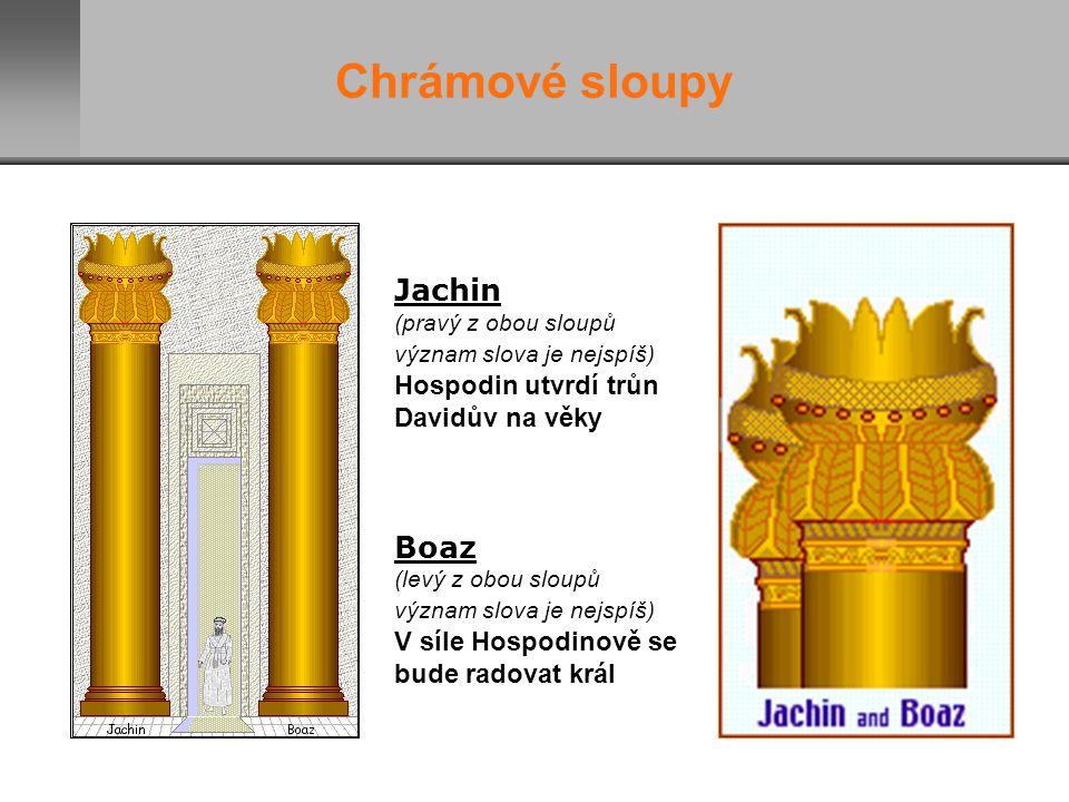 Jachin (pravý z obou sloupů význam slova je nejspíš) Hospodin utvrdí trůn Davidův na věky Boaz (levý z obou sloupů význam slova je nejspíš) V síle Hospodinově se bude radovat král Chrámové sloupy