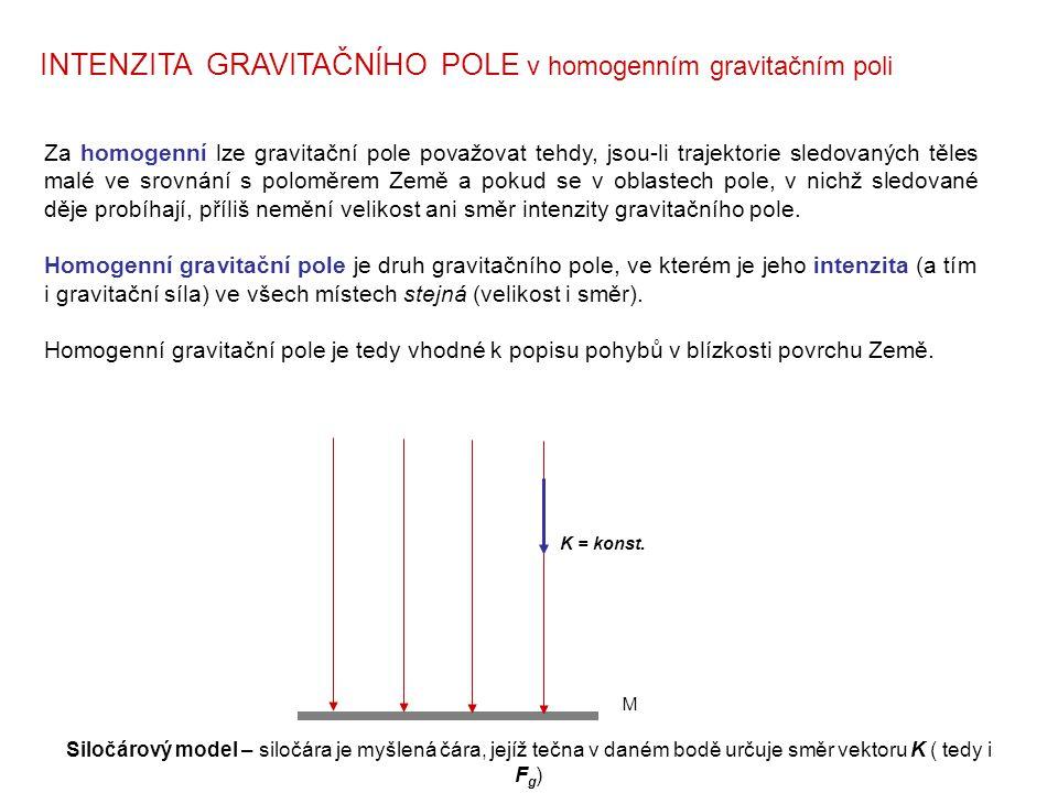 Za homogenní lze gravitační pole považovat tehdy, jsou-li trajektorie sledovaných těles malé ve srovnání s poloměrem Země a pokud se v oblastech pole,