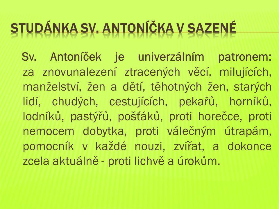 Sv. Antoníček je univerzálním patronem: za znovunalezení ztracených věcí, milujících, manželství, žen a dětí, těhotných žen, starých lidí, chudých, ce
