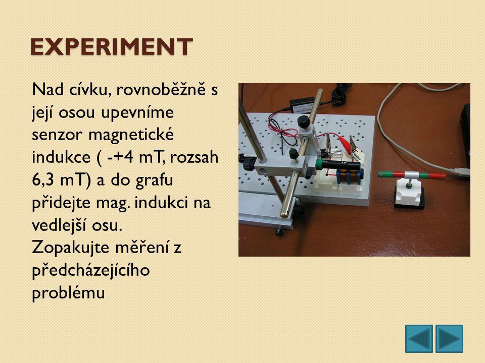 EXPERIMENT Nad cívku, rovnoběžně s její osou upevníme senzor magnetické indukce ( -+4 mT, rozsah 6,3 mT) a do grafu přidejte mag. indukci na vedlejší