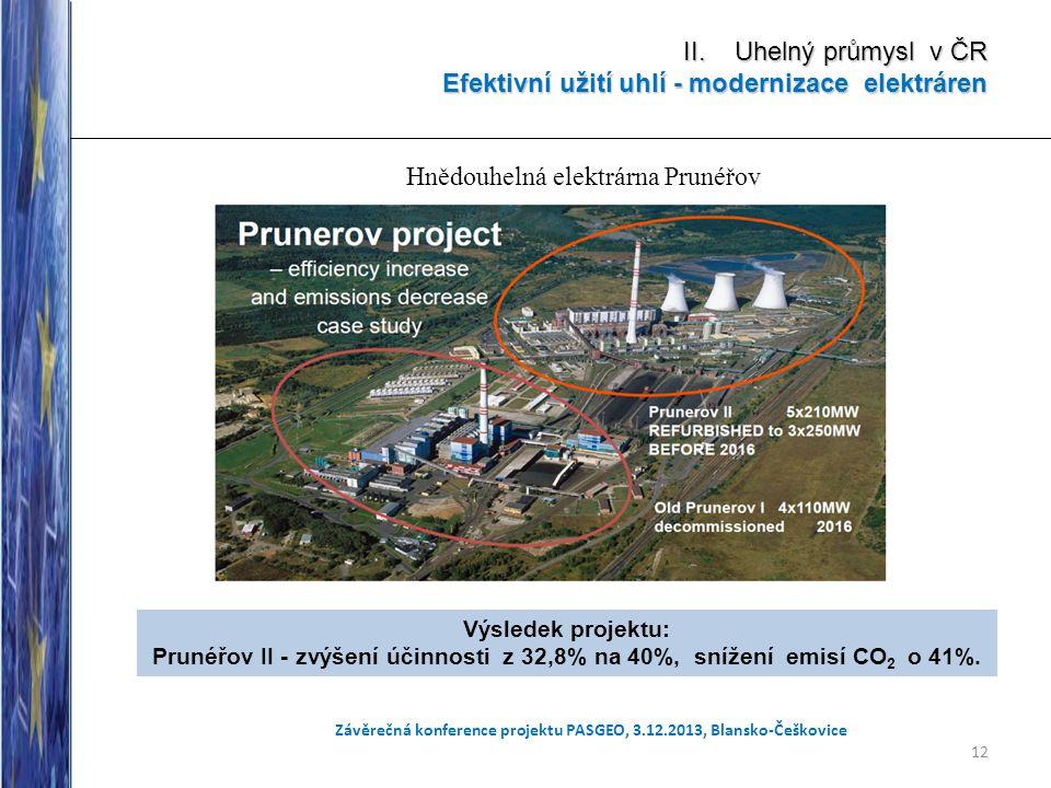 12 Závěrečná konference projektu PASGEO, 3.12.2013, Blansko-Češkovice II. Uhelný průmysl v ČR Efektivní užití uhlí - modernizace elektráren. Výsledek