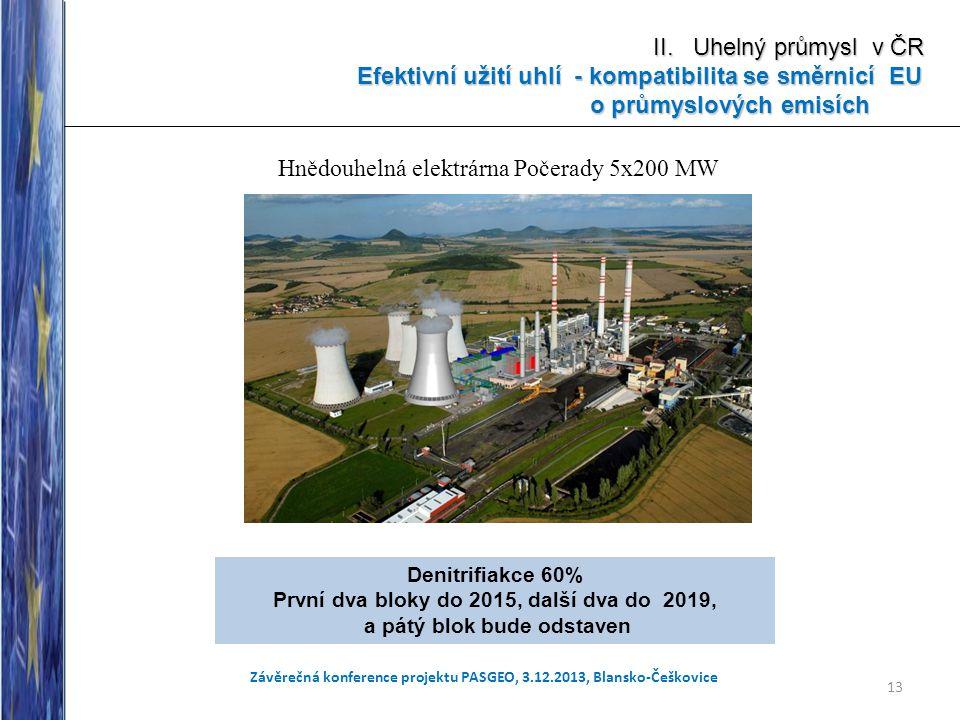 13 Závěrečná konference projektu PASGEO, 3.12.2013, Blansko-Češkovice II. Uhelný průmysl v ČR Efektivní užití uhlí - kompatibilita se směrnicí EU Efek