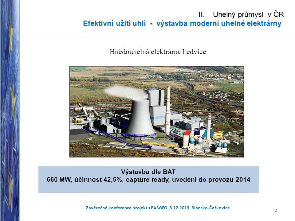 14 Závěrečná konference projektu PASGEO, 3.12.2013, Blansko-Češkovice II. Uhelný průmysl v ČR Efektivní užití uhlí - výstavba moderní uhelné elektrárn