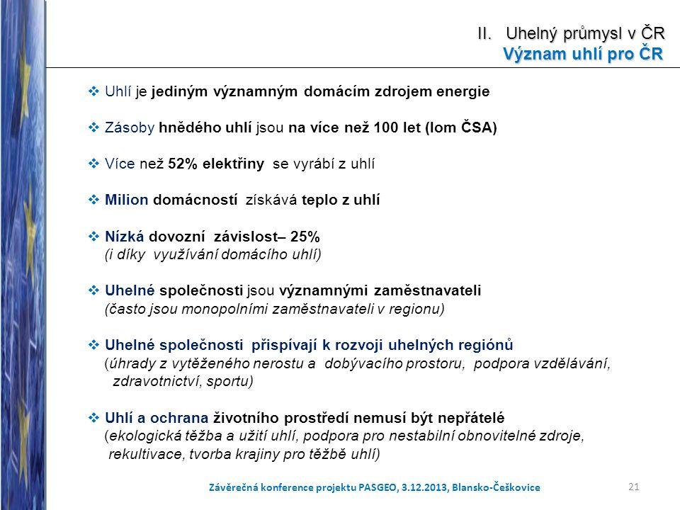 21 Závěrečná konference projektu PASGEO, 3.12.2013, Blansko-Češkovice  Uhlí je jediným významným domácím zdrojem energie  Zásoby hnědého uhlí jsou n