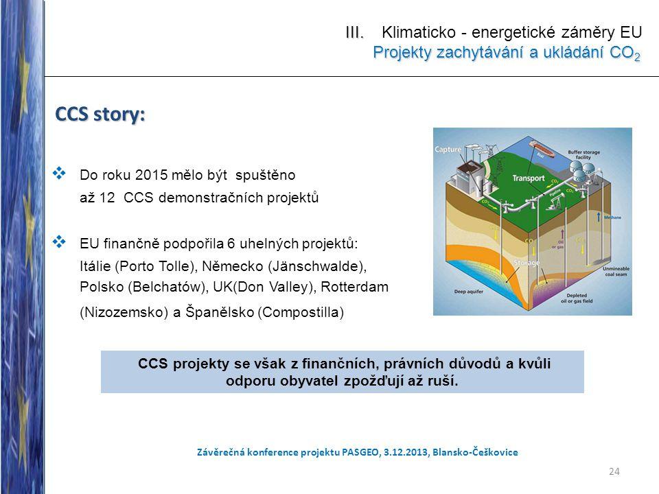 CCS story:  Do roku 2015 mělo být spuštěno až 12 CCS demonstračních projektů  EU finančně podpořila 6 uhelných projektů: Itálie (Porto Tolle), Němec