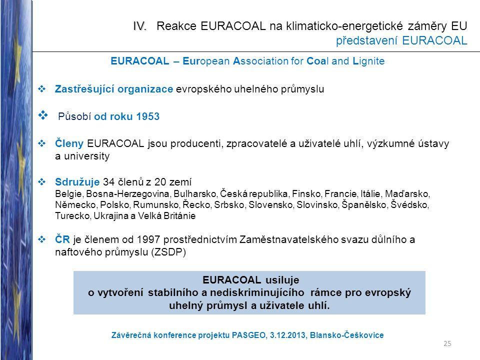 IV. IV. Reakce EURACOAL na klimaticko-energetické záměry EU představení EURACOAL EURACOAL – European Association for Coal and Lignite  Zastřešující o