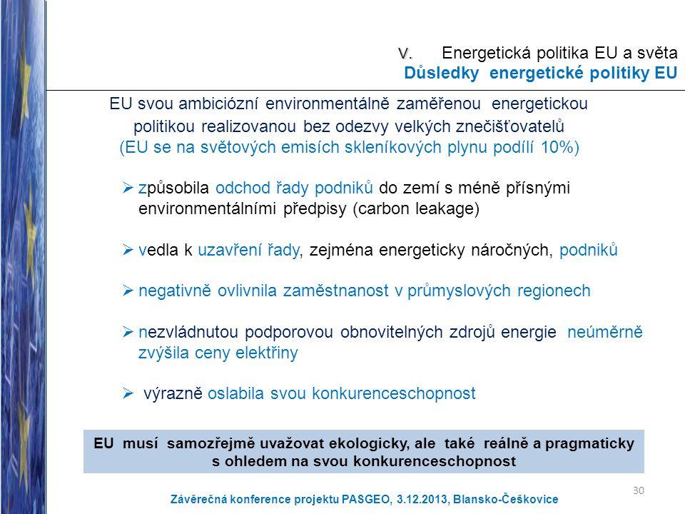 V. V. Energetická politika EU a světa Důsledky energetické politiky EU EU svou ambiciózní environmentálně zaměřenou energetickou politikou realizovano