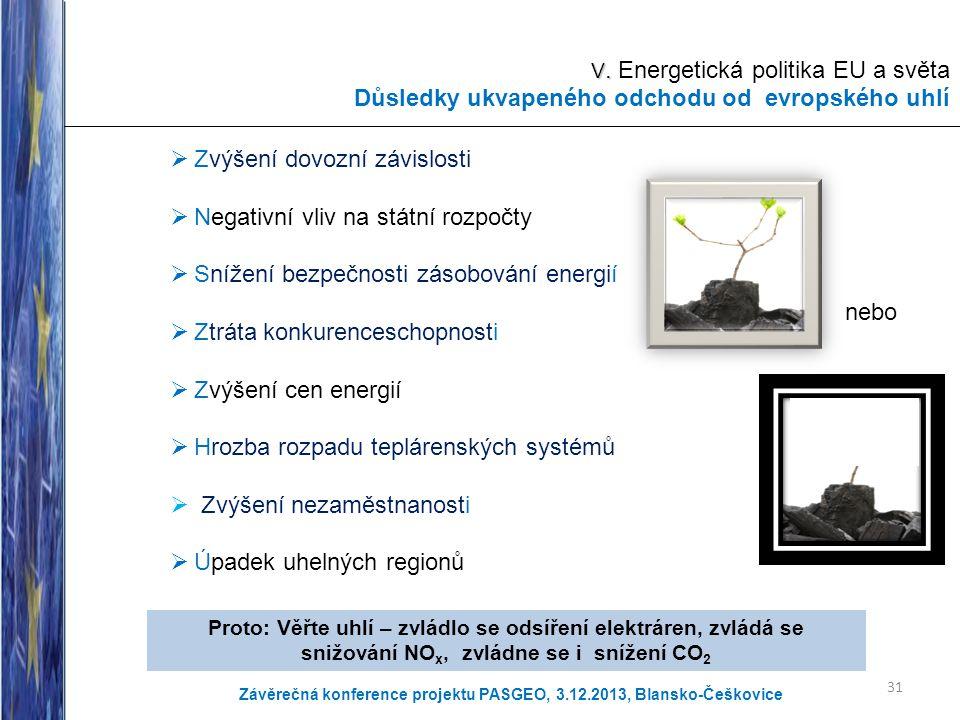 V. V. Energetická politika EU a světa Důsledky ukvapeného odchodu od evropského uhlí  Zvýšení dovozní závislosti  Negativní vliv na státní rozpočty